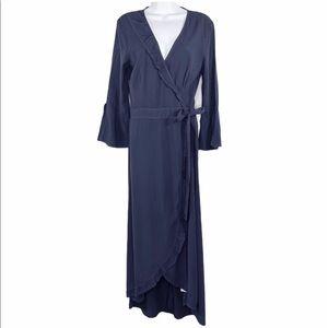 LACAUSA navy blue long bell sleeve wrap dress S